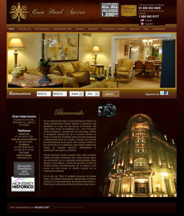 Hotel Ancira – Website